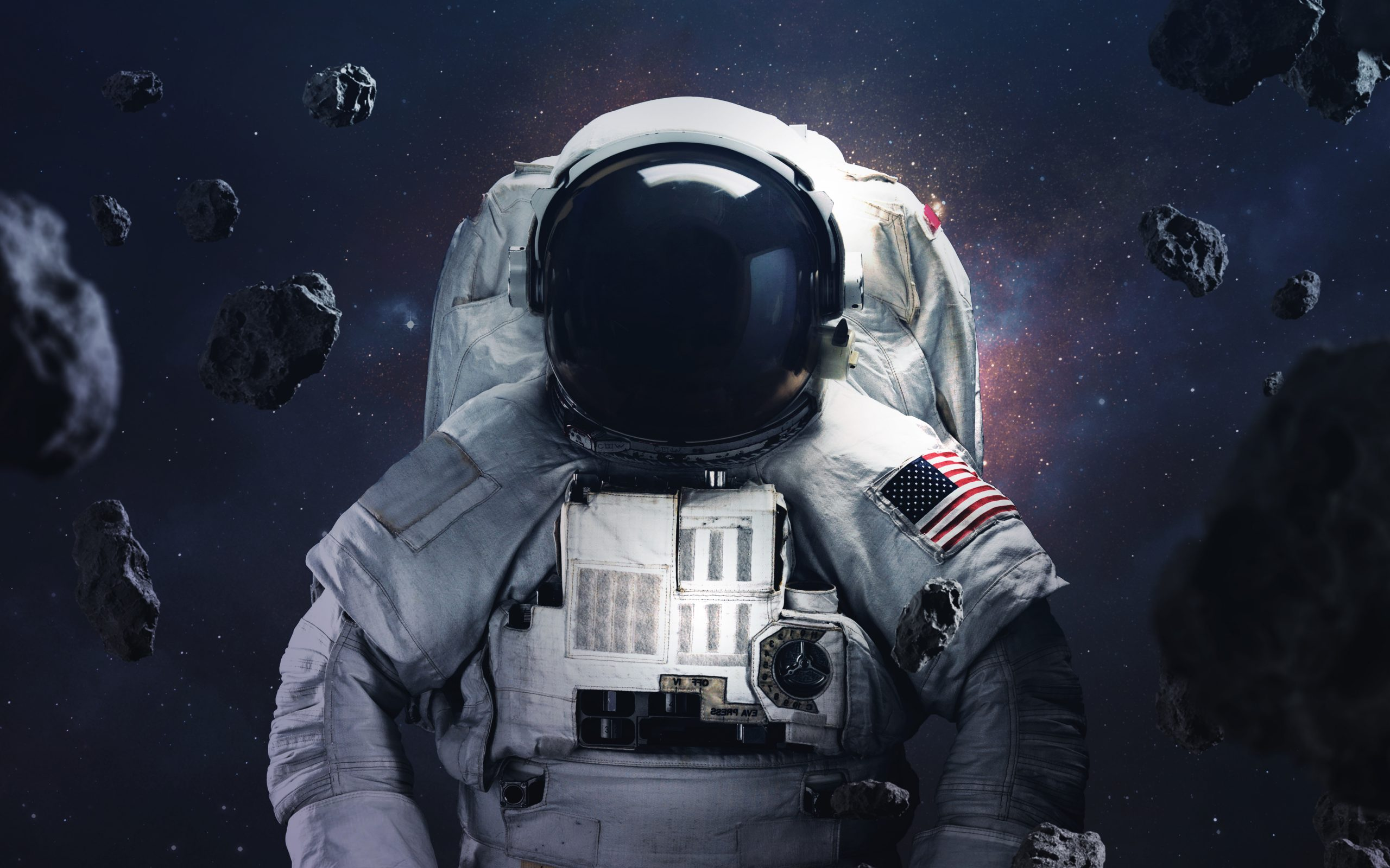 Picture of astronaut spacewalking at the awesome cosmic backgrouds with glowing stars and asteroids. Deep space image, science fiction fantasy in high resolution ideal for wallpaper and print. Elements of this image furnished by NASA